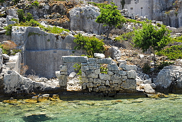 Sunken City, rocky coast of Kekova island, Lycian coast, Antalya Province, Mediterranean, Turkey, Eurasia