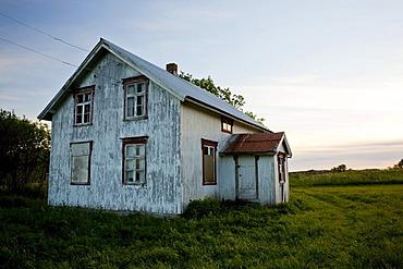 Abandoned old wooden house at dusk, Gimsefjorde, Norway, Scandinavia, Europe