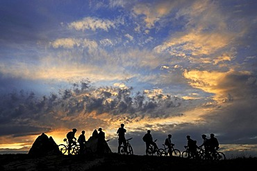 Mountain bikers cycling in Goereme, Cappadocia, Turkey
