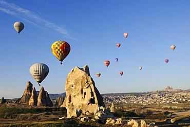 Balloon flight over the valley of Goereme, Cappadocia, Turkey, Western Asia