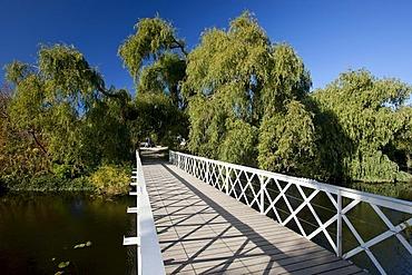 Footbridge in the Botanical Garden in Copenhagen, Denmark, Europe