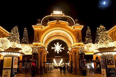 The main entrance to Tivoli with Christmas decoration, Copenhagen, Denmark, Europe