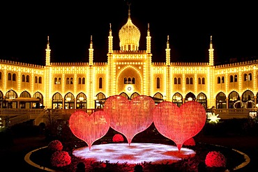 Christmas decoration, red hearts in front of restaurant Nimb in Tivoli, Copenhagen, Denmark, Europe