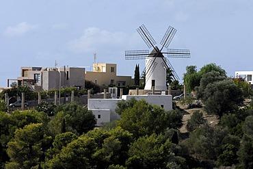 Windmill, Puig des Molins, Eivissa, Ibiza Town, Ibiza, Pityuses, Balearic Islands, Spain, Europe