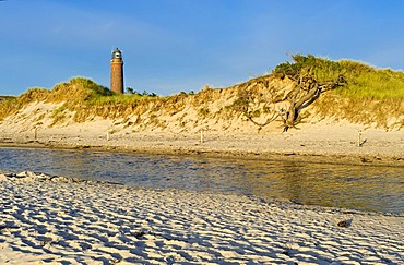 Dunes on Weststrand beach in front of Darsser Ort lighthouse, Fischland-Darss-Zingst Peninsula, Mecklenburg-Western Pomerania, Germany, Europe