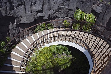 Circular staircase leading down into a lava cave, Casa Museo al Campesino, Peasant¥s House Museum, Mozaga, Lanzarote, Canary Islands, Spain, Europe