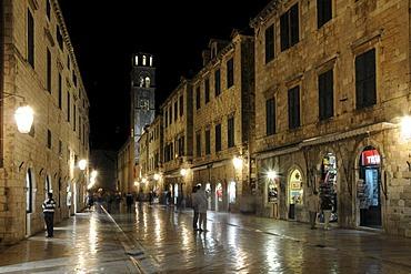 Night, tower, Franciscan Monastery, Placa, Stradun, old town, Dubrovnik, Croatia, Europe