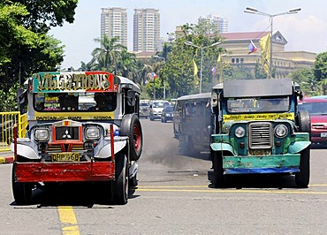 Jeepney taxi with smoke, Manila, Philippines, Southeast Asia