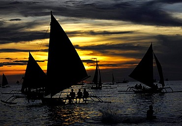 Sailing boats at sunset, Boracay, Philippines, Pacific Ocean