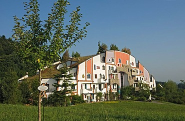 Steinhaus, Stone House of the Rogner Bad Blumau hotel complex, designed by architect Friedensreich Hundertwasser, in spa town Bad Blumau, Styria, Austria, Europe