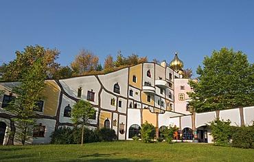 Stammhaus, Main House of the Rogner Bad Blumau hotel complex, designed by architect Friedensreich Hundertwasser, in spa town Bad Blumau, Styria, Austria, Europe
