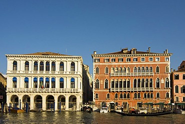 Classicist Palazzo Manin-Dolfin, built in 1538-40 by Jacopo Sansovino, currently used by Bank of Italy, and 15th century Gothic Bembo Palace in San Marco District, Grand Canal, Venice, Veneto, Italy, Europe