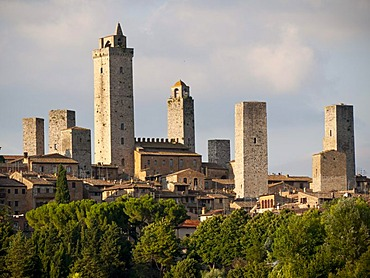 Dynasty towers in the medieval city center, San Gimignano, Tuscany, Italy, Europe
