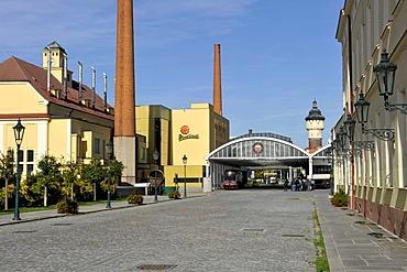 Brewhouses, beer transport, water tower, Pilsner Urquell brewery, Pilsen, Bohemia, Czech Republic, Europe