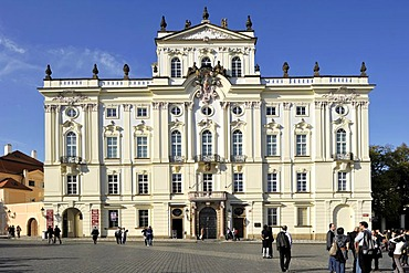 Rococo facade, Archbishop's Palace, Hradcany Square, Prague Castle, Prague, Bohemia, Czech Republic, Europe