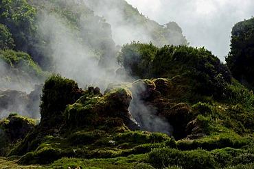 Furnas do Enxofre fumarole on the island of Terceira, Azores, Portugal