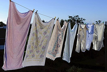 Laundry on a washing line on the island of Santa Maria, Azores, Portugal