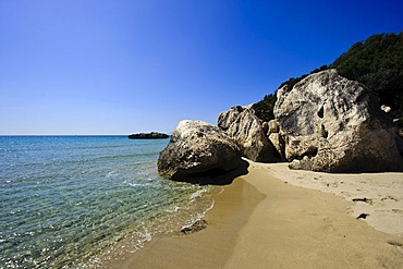 Beach of Cala Cartoe near Dorgali, Golfo di Orosei, Province of Nuoro, East Sardinia, Italy, Europe