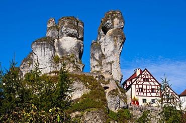 Rocky village of Tuechersfeld in the Franconian Switzerland, Bavaria, Germany, Europe