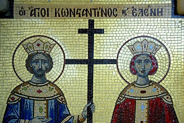 Greek Orthodox Christianity, mosaic, Saint Constantine and Helen, church, Village Tochni, Southern Cyprus, Republic of Cyprus, the Mediterranean, Europe