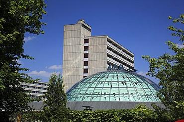 Building and main entrance of the Rhoen-Klinikum hostpital, Neustadt an der Saale, Landkreis Rhoen-Grabfeld district, Lower Franconia, Bavaria, Germany, Europe