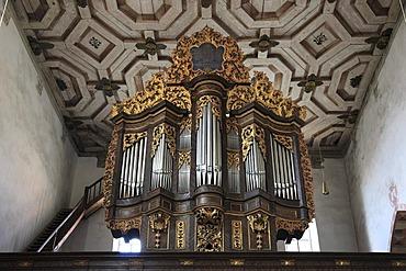 Organ in the nave of the Carmelite monastery, Bad Neustadt an der Saale, Landkreis Rhoen-Grabfeld district, Lower Franconia, Bavaria, Germany, Europe