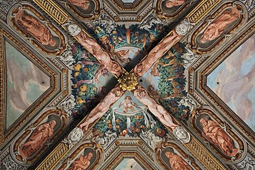 Ceiling fresco in the Cathedral of Parma, Emilia Romagna, Italy, Europe