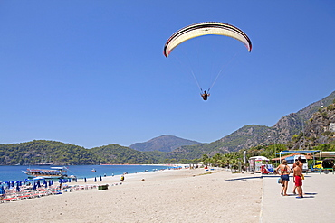 Paraglider, Oeluedeniz Bay near Fethiye, Turkish Aegean Sea, Turkish coast, Turkey