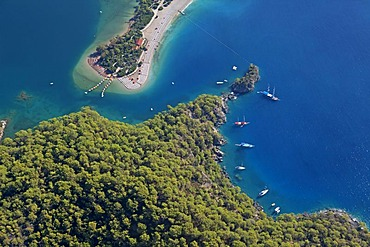 Aerial view, Oeluedeniz Bay near Fethiye, Turkish Aegean, Turkey, Asia