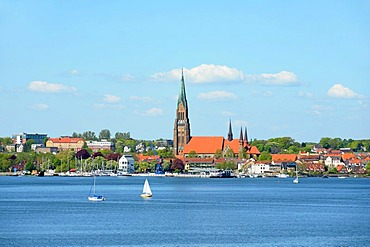 View of Schleswig on the Schlei Inlet, Schleswig-Holstein, Germany, Europe