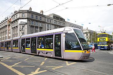 Tram Luas in O'Connell Street, Dublin, Republic of Ireland, Europe