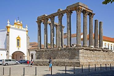 Temple of Diana in evora, Alentejo, Portugal, Europe