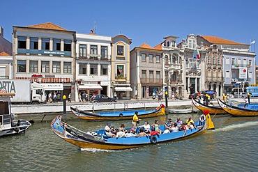 Colourful excursion boats in Aveiro, Costa de Prata, Portugal, Europe