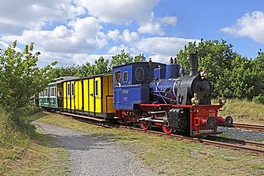 Historic steam train of the island railway, Borkum Island, an East Frisian Island, Eastern Friesland, Lower Saxony, Germany, Europe
