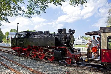 "Narrow-gauge steam railway, also known as ""Molli"", Heiligendamm, Baltic coast, Mecklenburg-Western Pomerania, Germany, Europe"