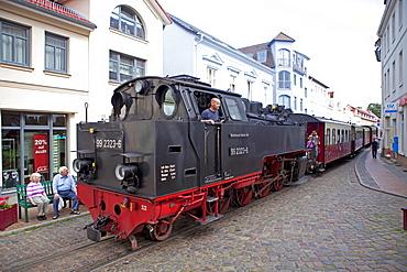 "Narrow-gauge steam railway in the city centre, also known as ""Molli"", Bad Doberan, Baltic coast, Mecklenburg-Western Pomerania, Germany, Europe"