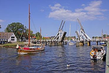 Balance bridge in Wieck, Greifswald, Baltic Sea coast, Mecklenburg-Western Pomerania, Germany, Europe