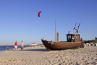 Fishing boat on the beach of Ahlbeck, Usedom island, Baltic Sea, Mecklenburg-Western Pomerania, Germany, Europe