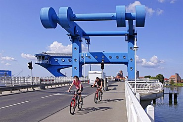 Lift bridge between Wolgast and Usedom island, Baltic Sea, Mecklenburg-Western Pomerania, Germany, Europe