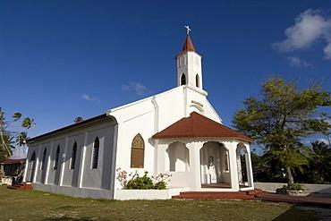 Church, Fakarava, Havaiki-te-araro, Havai'i or Farea, Tuamotu Archipelago, French Polynesia, Pacific Ocean