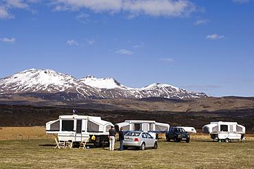 Caravan, Mid-Atlantic Rift zone, Thingvellir National Park, Iceland, Europe