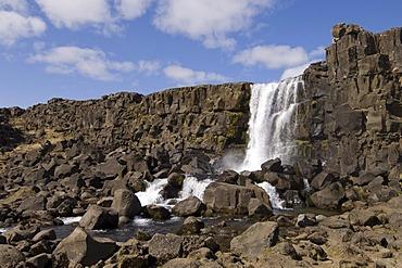 Oxararfoss waterfall on Mid-Atlantic Rift, Thingvellir National Park, Iceland, Europe