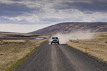 Off-road vehicle, road, Snaefellsnes Peninsula, Iceland, Europe