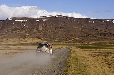 Off-road vehicle, road, Snaefellsnes Peninsula, Iceland, Europe