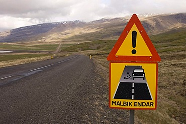 Road sign, Hamarsfjordur fjord, South coast, Iceland, Europe