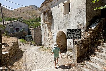 Ruins in Paleo Perithia, deserted village, north east Corfu, Corfu Island, Ionian Islands, Greece, Southern Europe, Europe