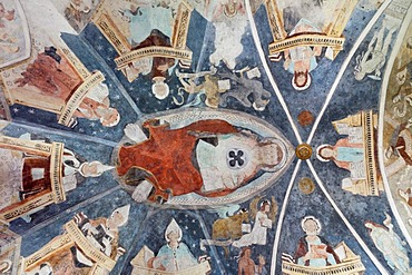 """Church, the Trinitarian """"three-headed"""" Jesus on the ceiling of the choir, Lavin, Lower Engadine, Grisons, Switzerland, Europe"""
