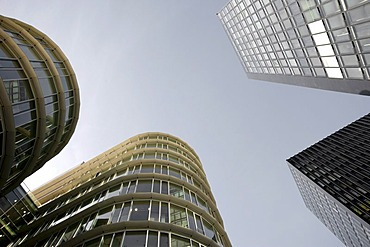 Round and square architecture, architecture styles in the Medienhafen media harbour, Duesseldorf, North Rhine-Westphalia, Germany, Europe