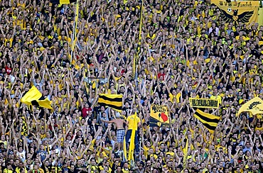 BVB fans in the South Stand, Bundesliga Football League, season 2010 - 2011, Borussia Dortmund - Bavaria Munich 2:0, Signal Iduna Park, Dortmund, North Rhine-Westphalia, Germany, Europe