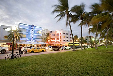 Illuminated Colony Hotel, South Beach, Ocean Drive, Miami, Florida, United States of America, USA